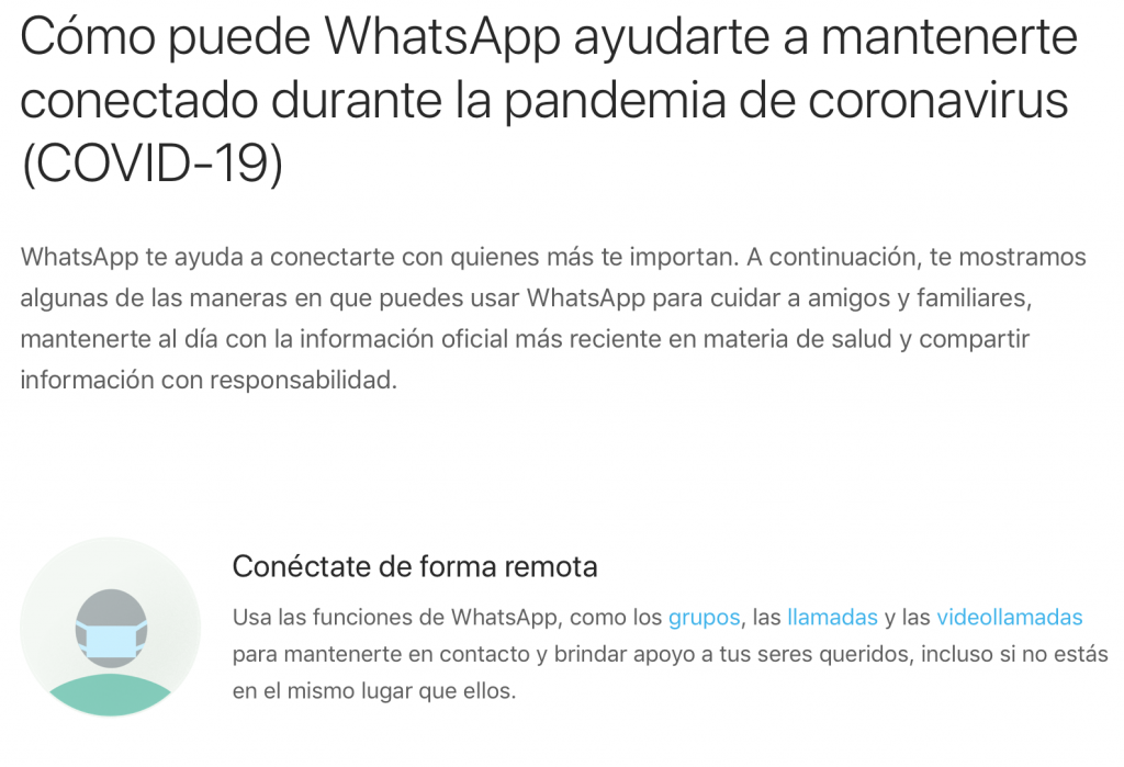 Inicio de la página de WhatsApp para informar sobre el coronavirus.